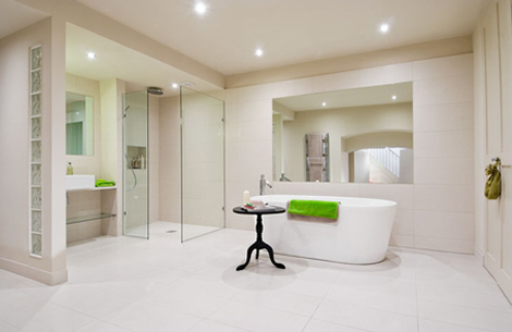 modern bathroom with strong confident lime greens